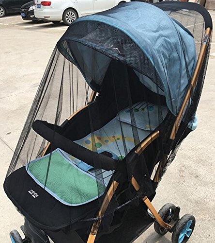 Baby Buggy Pram Mosquito Cover Net Pushchair Stroller Fly Insect Protector Cover (Black)