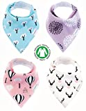Baby Shower Gift Idea: Baby Bandana Drool Bibs Organic 4 Pack for Girls with