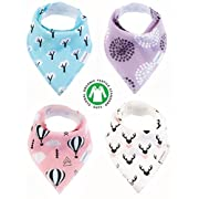Baby Bandana Drool Bibs 4 Pack for Girls, Hypoallergenic Soft Organic Cotton With Snaps for Teething Drooling, Baby Shower Gift for Girl, Newborn Registry Must Haves, Burp Cloth, Pink Purple Floral