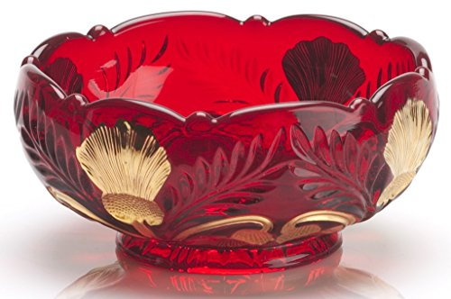 - Berry Bowl - Inverted Thistle - Mosser Glass - USA (Red Handpainted)