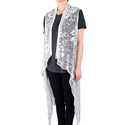 White Deer Women's Sleeveless Floral Lace Vest Cardigan Kimono Open Front Long Fringe (Light Gray)