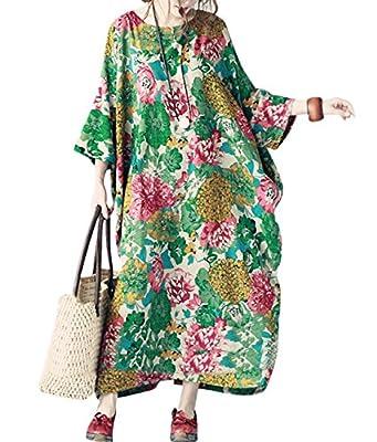 """TH6 Women 50"""" Long Maxi Loose Floral Dress Gown Caftan 100% Cotton Bat-Wing Plus Size Split Sides"""