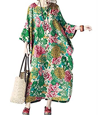 "Yesno TH6 Women 50"" Long Maxi Loose Floral Dress Gown Caftan 100% Cotton Long Bat-Wing Plus Size Split Sides"