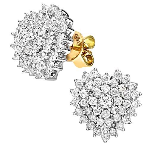 Revoni-Boucles d'Oreilles Grappe Diamant 1ct or jaune 18Ct en forme de cœur