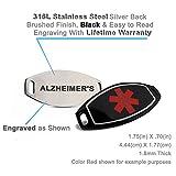Engraved Alzheimer's, Steel Black ID & Curb Chain