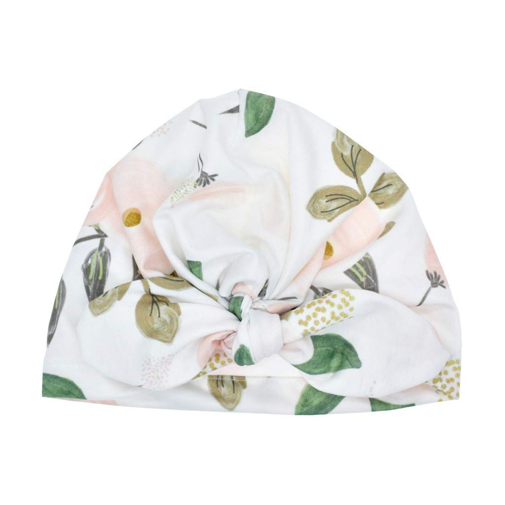 Turban Bowknot Headwear Head Wrap Newborn Toddler Baby Boy Girl Sun Hat Floral Cap Photo Props Green