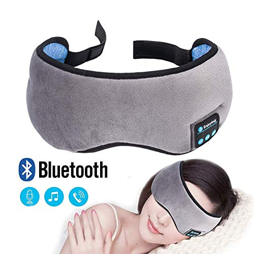60 Sec Mask - Bluetooth Sleep Eye Mask Wireless Headphones, NEIMAER Grey Adjustable&Washable Sleeping Travel Music Eye Cover Bluetooth Headsets with Microphone, Free for Air Travel, Siesta