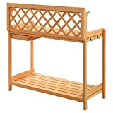 New Potting Bench Outdoor Garden Work Bench Station Planting Solid Wood Construction