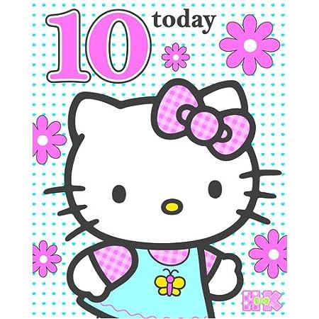 Hello Kitty Edad 10 Tarjeta de cumpleaños: Amazon.es: Hogar