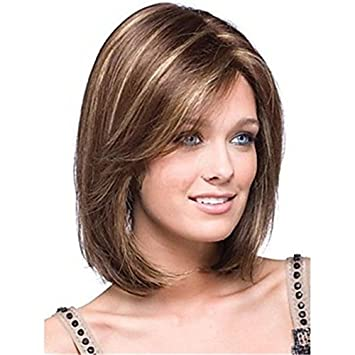 Kalyss Women S Short Bob Style Dark Brown With Blonde Highlights Yaki Synthetic Hair Wigs With Hair