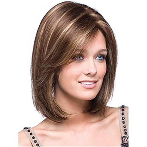 Kalyss Women's Short Bob Cut Style Dark Brown With Blonde Highlights Yaki Synthetic Hair wigs for Women