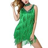 QueenBBWomen's Latin Dance Dress Fringe Sequin Strap Backless 1920s Flapper Party Mini Dress Cocktail Dress Send Gloves Green