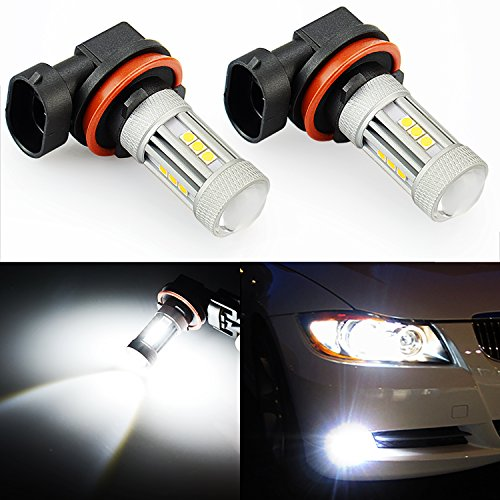 JDM ASTAR 2600 Lumens Extremely Bright 3030 Chipsets H11 LED Fog Light Bulbs for DRL or Fog Lights, Xenon White (H11) (Code Mitsubishi Radio)
