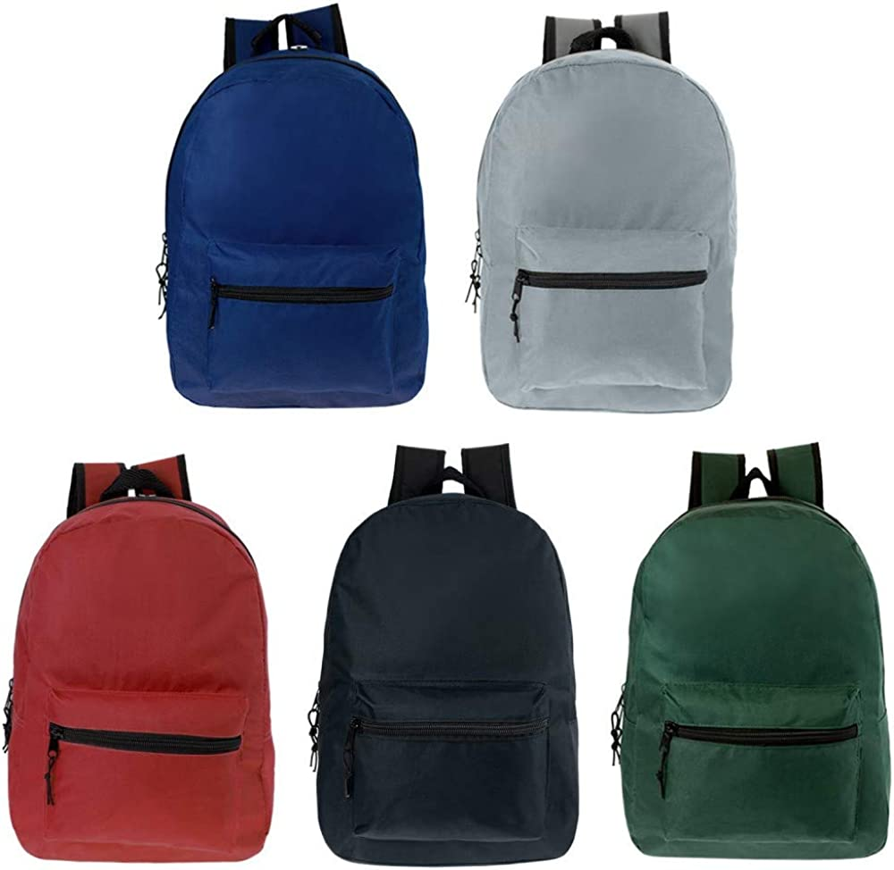 17 Inch Wholesale Kids Classic Backpack in 5 Solid Colors - Bulk Case of 24 Bookbags