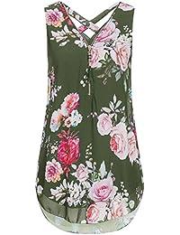 Woman Women Loose Flowers Chiffon Sleeveless Tank V-Neck Zipper Hem Scoop T Shirts Tops