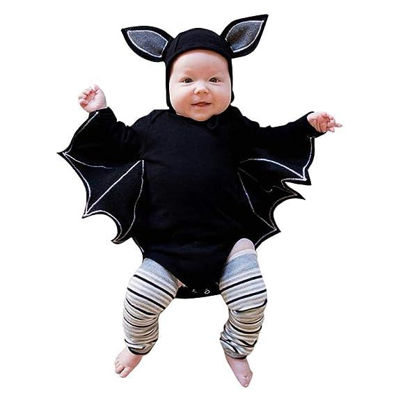 Zarupeng Disfraz Halloween Niña Niño Bebe Recién Nacido Bebé Monos de Manga murciélago Tops con Sombrero de Oreja