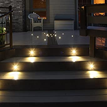 Indoor LED Recessed Stair Light / Step Light / Riser Light Kit   8 LED  Lights   Hammered White     Amazon.com