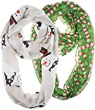 Vivian & Vincent 2 Pack of Soft Light Weight Elegant Sheer Infinity Scarf (Gift Idea) Christmas Gray Snowman & Green Candy Cane