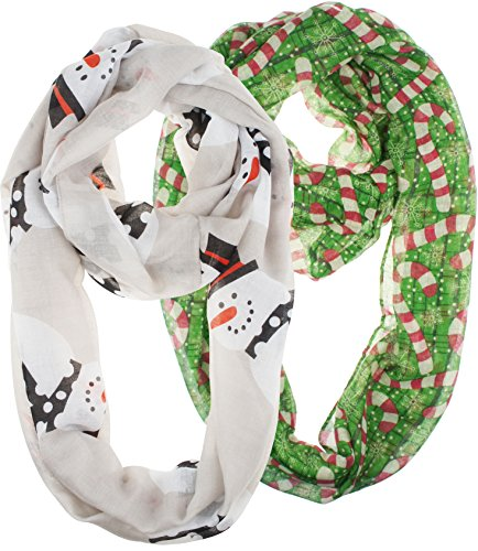 Vivian & Vincent 2 Pack of Soft Light Weight Elegant Sheer Infinity Scarf (Gift Idea) Christmas Gray Snowman & Green Candy (New Girls Christmas Holiday Snowman)