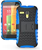 JKase DIABLO Series Tough Rugged Dual Layer Protection Case Cover with Build in Stand for Motorola Moto G SmartPhone - Retail Packaging (Blue)