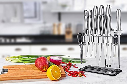 Deik Knife Set, Knife Block Set 14 Pieces, Knife Block, Kitchen Knives Stainless Steel with Acrylic Stand by Deik (Image #7)