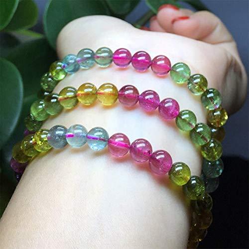 GemAbyss Beads Gemstone 1 Strands Natural Mix Tourmaline Multi-Color Stretch Bracelet Round Beads Necklace 3 Turns Size: 6.5mm 04444 - Multi Tourmaline Necklace Color