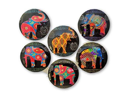 (Set of 6 Paisley Elephant Wood Cabinet Knobs (Paisley Elephant))