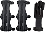 AIFUDA 2 Pack Archery Arm Guards Leather Forearm Protector with 1 Pack Archery Glove Finger Tab, Adjustable Bo