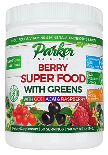 Berry Green Superfood Powder with Organic Greens & Organic Fruits, Enzymes, Probiotics, Antioxidants, Vitamins, Minerals - Alkalize & Detox - Non GMO, Vegan & Gluten Free - 240 Grams, 22000 ORAC ()