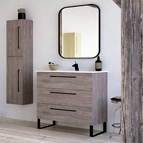 Modern Bathroom Vanity Cabinet Set | Dakota Chicago Grey Oak Wood | 40 x 33 x 18 Inch Vanity Cabinet Ceramic Top Sink | 3 Drawers