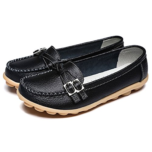 Conduite Confort Travail Mocassins Plate Cuir Gesimei Noir Casual Femme Loafers Chaussures PWXxWtS