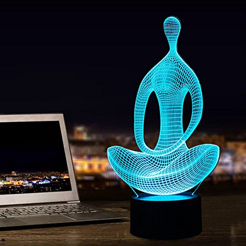Nice Colour (Decorative Night Lights Yoga Sitting Meditation Cute Lamps 3D Illusion 7 Changing Colors Nice Gift Touch Table Lamps)
