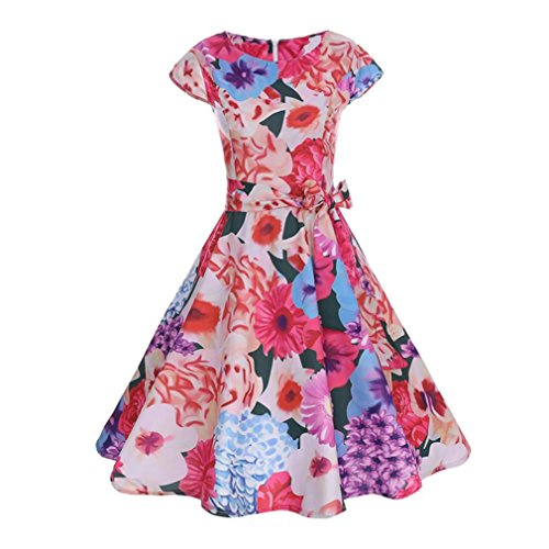 Hot Sale ! Sfe  Boatneck Cap sleeve Floral Print Vintage Dress With Bowknot Cocktail Party Wedding Swing Dress (S, Red)