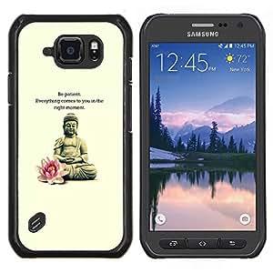 Meditación de la flor de Lotus Cita de Buda- Metal de aluminio y de plástico duro Caja del teléfono - Negro - Samsung Galaxy S6 active / SM-G890 (NOT S6)