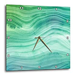 3dRose Uta Naumann Faux Glitter Pattern - Image of Chic Trendy Green Mermaid Waves Agate Gemstone Rock Quartz - 13x13 Wall Clock (DPP_315356_2)