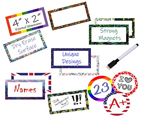 40 Magnetic Dry Erase Labels Name Plates - Set Accent Write On Whiteboard Magnets for Classrooms,Metal Shelving, Refrigerator, File Cabinets - Includes 1 Black Dry Erase Marker