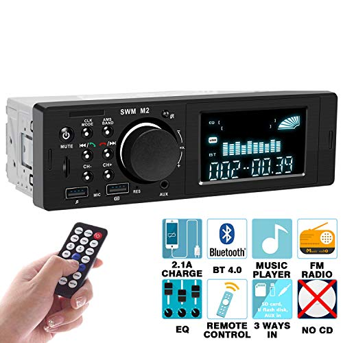 Car Stereo Compatible with Bluetooth Single Din Car Stereo – Multimedia Car Stereo LCD, Audio and Calling, Built-in Microphone, MP3 Player, WMA, USB, Auxiliary Input, FM Radio Receiver, Remote Control