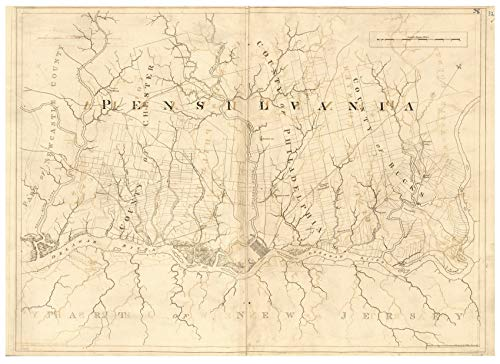 Pennsylvania - Delaware River 1777 Map - Revolutionary War Survey by British Navy - Des Barres V3-30 Reprint USA Regional