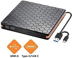Externes DVD CD Laufwerk, Externes CD Brenner für Brenner mit USB 3.0 und Typ C Schnittstelle, optische...