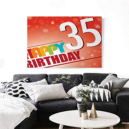 - homehot 35th Birthday Wall Art Canvas Prints Retro Style Party Invitation with Colorful Lettering on Bokeh Effect Backdrop Ready to Hang for Home Decorations Wall Decor 36
