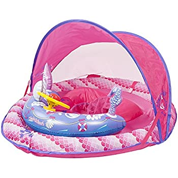 Swim School- Confidence Building System Lil Mermaid Sun Shade Baby Float with Inflatable Toys