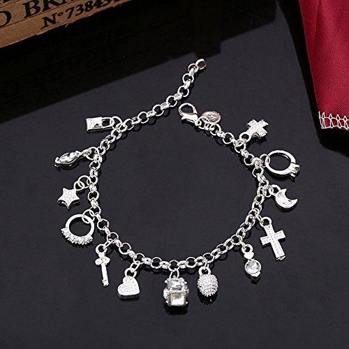 ( Euone  Bracelet Clearance Sale , Cute nice best Silver Plated Bracelet Fashion Women 13 Charm pendant Beautiful Bracelet)
