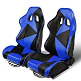 Pair of 2 Universal Triangle Pattern Type-R PVC Leather Reclinable Racing Seat w/Sliders (Black/Blue)