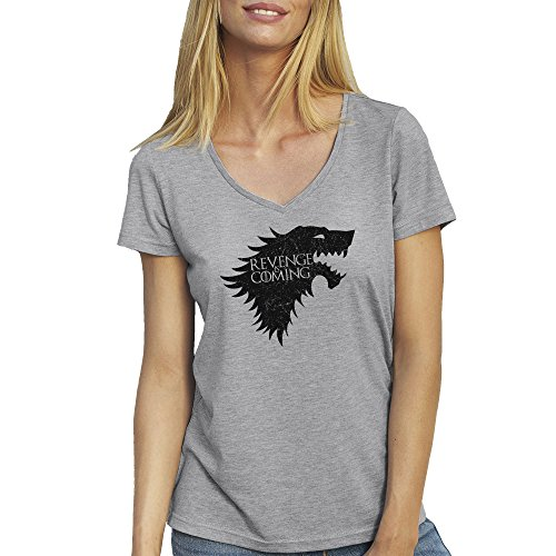 Revenge Is Coming Wolf Game Of Thrones T-Shirt camiseta Cuello V para la Mujer Gris