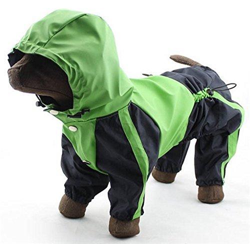 Colleer Hunde-Regenmantel Wasserdicht mit 4 Beine Haustier Regenmantel Hund Regenjacke Regenmantel Regenkleidung (XL, Grün)