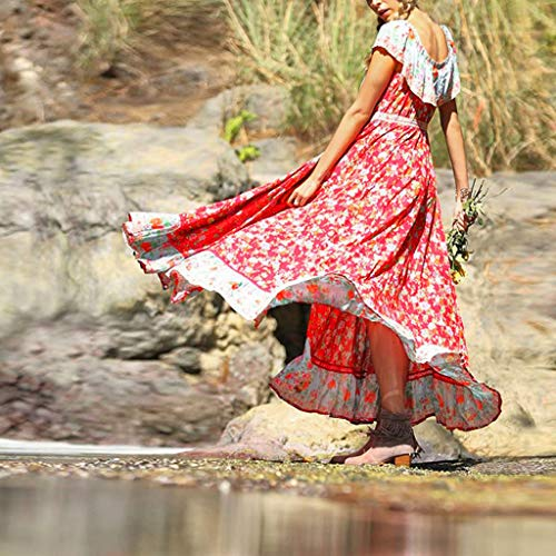 Women Dresses For Special Occasions Sexy Cocktail,Women's Summer Bohemian Printed Waist V-Collar Chiffon Beach Long Dresses by SUNSEE WOMEN'S CLOTHES PROMOTION (Image #1)