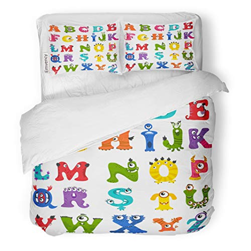 Semtomn Decor Duvet Cover Set King Size Colorful Cute Funny Monster Alphabet Letter Character and ABC 3 Piece Brushed Microfiber Fabric Print Bedding Set Cover -