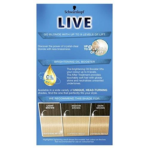 Schwarzkopf Live Intense Lightener, Permanent Colour with Anti-Yellowing – 3x 00B Max Blonde