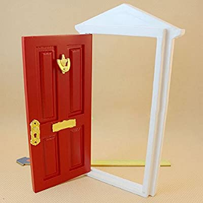 Gracefulvara 1:12 Dollhouse Miniature Wood Fairy Door Assembled with Metal Accessories - red: Toys & Games