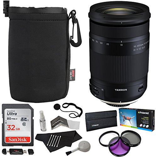 Tamron 18-400mm F/3.5-6.3 DI-II VC HLD All-In-One Zoom (6 Year Limited USA Warranty) For Canon APS-C Digital SLR Cameras, Sandisk 32GB, Polaroid Filter Kit, Ritz Gear Lens Pouch, and Accessory Bundle by Ritz Camera